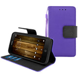 Alcatel OneTouch Fierce 4 / Allura / Pop 4 Plus Leather Wallet Pouch Case Cover Purple