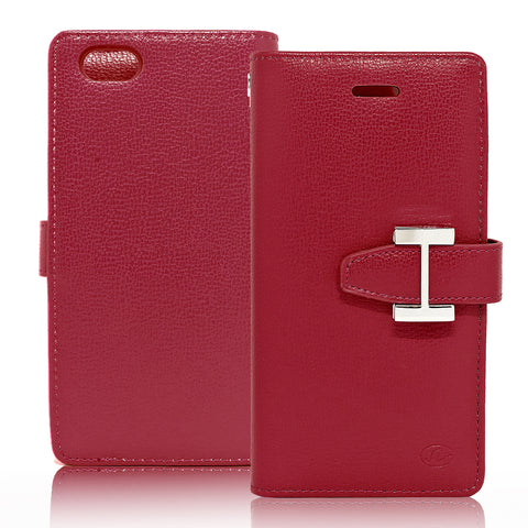 IPhone 8 Plus / 7 Plus Luxury Leather Wallet Pouch Case Cover Red