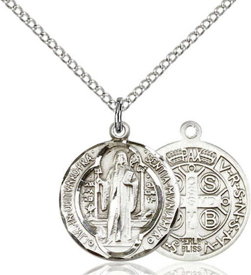 Sterling Silver Saint Benedict Necklace Set