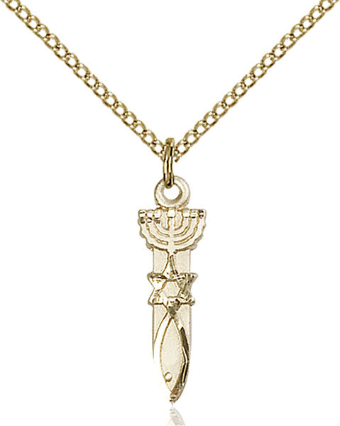 Gold-Filled Menorah and Star and Fish Necklace Set