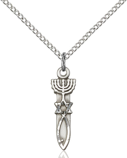 Sterling Silver Menorah and Star and Fish Necklace Set