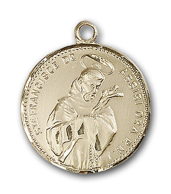 14K Gold Saint Francis of Assisi Pendant - Engravable