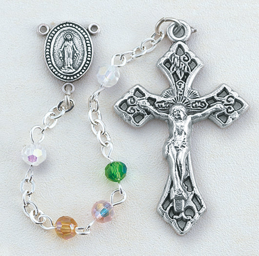 4MM Multi Color Crystal Aurora with Deluxe Crucifix and Center