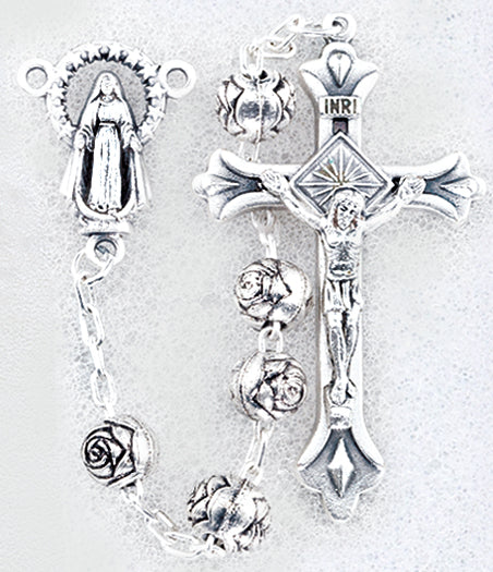 Rosebud Silver Color Rosary