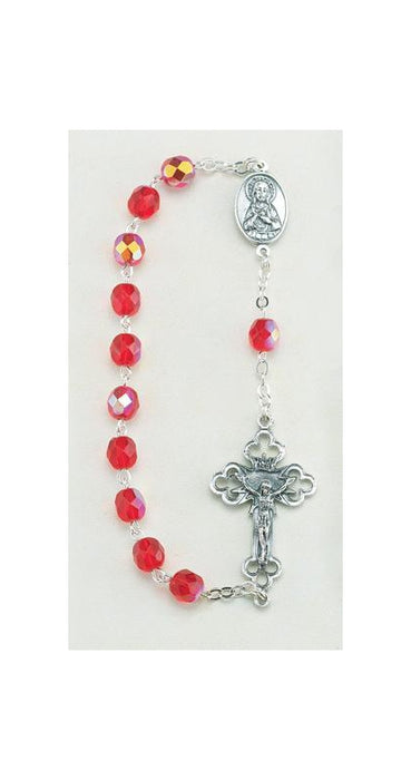 Ruby Ab Crystal One Decade Hand Rosary