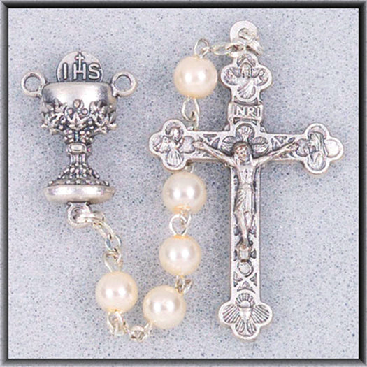 White Bead Communion Rosary
