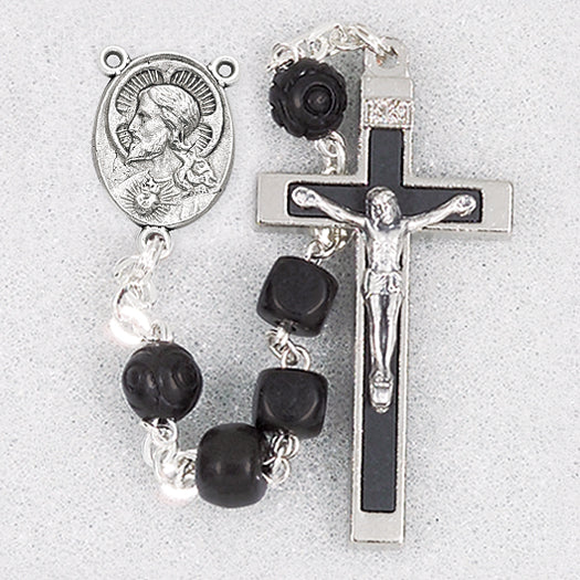 Black Square Coco Rosary Bead