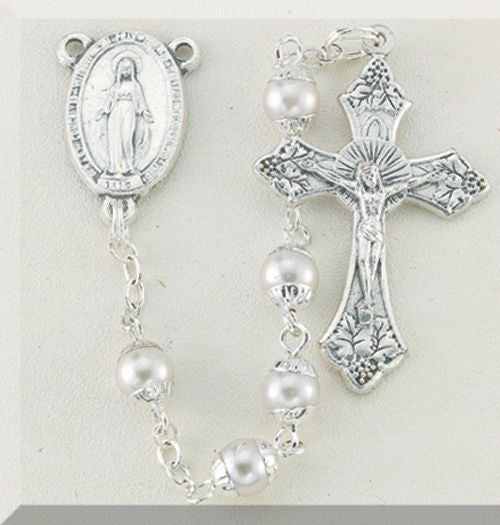 5MM Imitation Capped Pearl Rosary Boxed