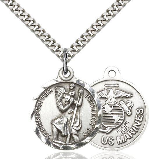 Sterling Silver Saint Christopher U.S. Marines Necklace Set
