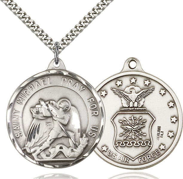 Sterling Silver Saint Michael and Air Force Necklace Set
