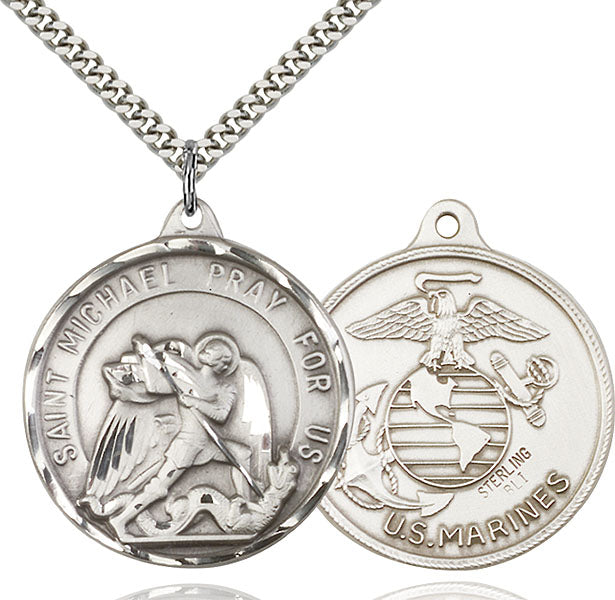 Sterling Silver Saint Michael and Marines Necklace Set