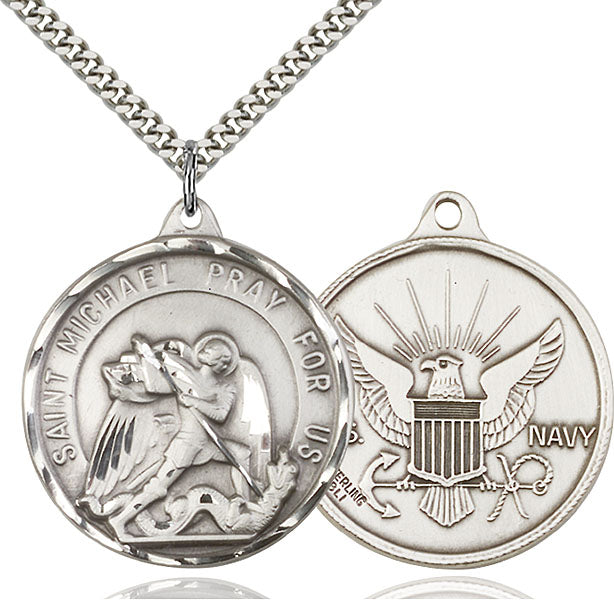 Sterling Silver Saint Michael and Navy Necklace Set