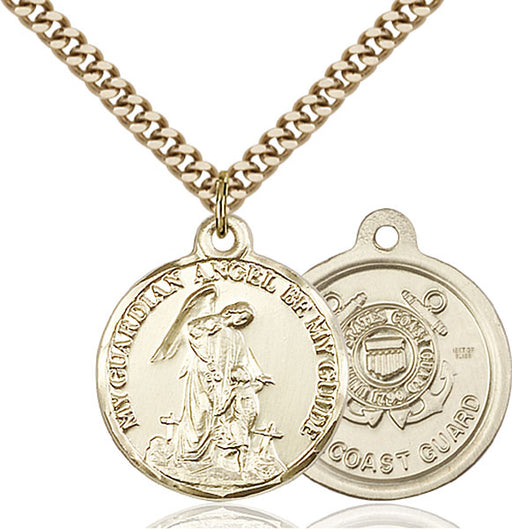Gold-Filled Guardain Angel and Coast Guard Necklace Set