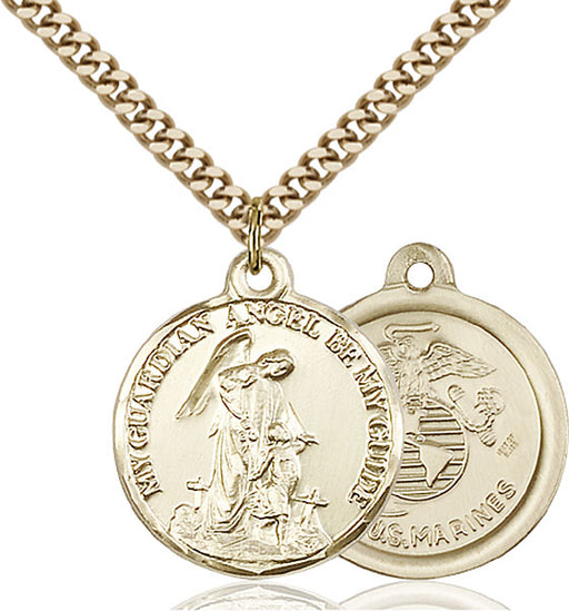 Gold-Filled Guardain Angel and Marines Necklace Set