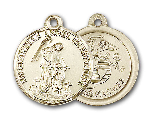 14K Gold Guardain Angel and Marines Pendant