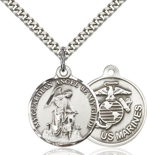 Sterling Silver Guardain Angel and Marines Necklace Set