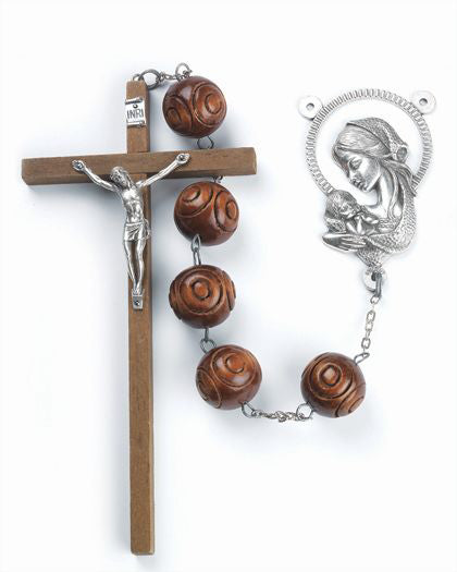Carved Wood Wall Rosary