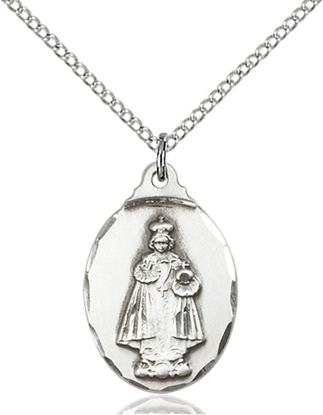 Sterling Silver Infant of Prague Necklace Set