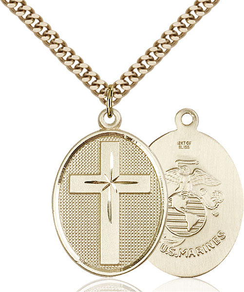 Gold-Filled Cross and Marines Necklace Set