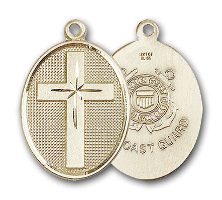 14K Gold Cross and Coast Guard Pendant