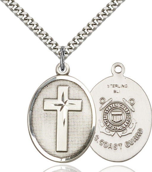 Sterling Silver Cross and Coast Guard Necklace Set