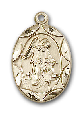14K Gold Guardian Angel, Angel Jewelry Pendant - Engravable