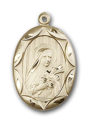 14K Gold Saint Theresa Pendant - Engravable