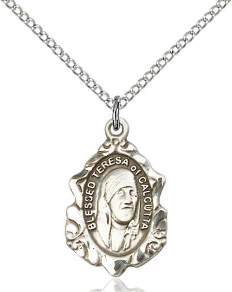 Sterling Silver Blessed Teresa of Calcutta Necklace Set