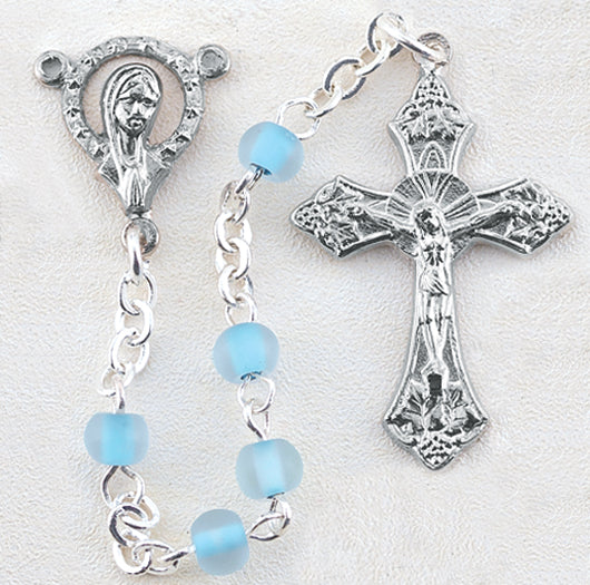 Blue Bead Silver Plated Rosary