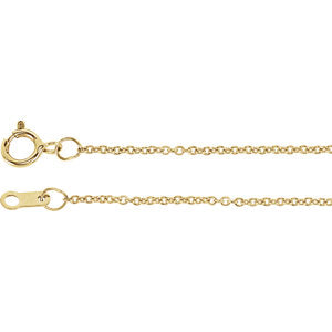 16-inch Solid Cable Chain with Spring Ring - 10K Yellow