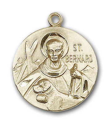 14K Gold Saint Bernard of Clairvaux Pendant - Engravable