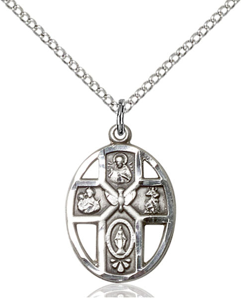 Sterling Silver 5-Way and Holy Spirit Necklace Set