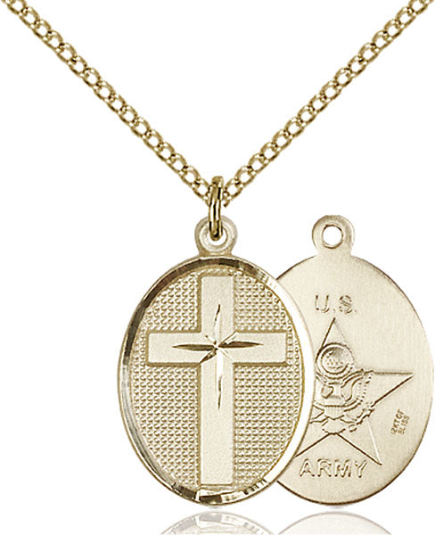 Gold-Filled Cross and Army Necklace Set