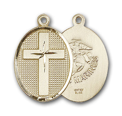 14K Gold Cross and Marines Pendant