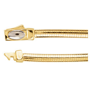 7-inch Two Tone Reversible Omega Chain - 14K Yellow Gold and White