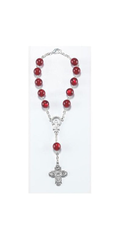 Red Auto Rosary Carded