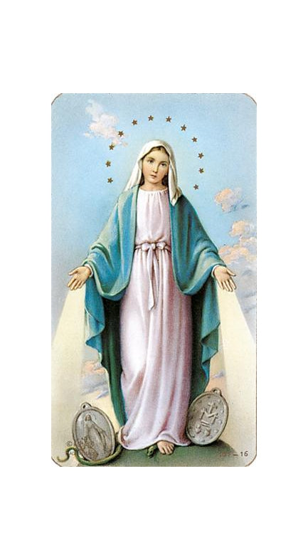 100-Pack - Our Lady Of Grace with Miraculous Medal Holy Card