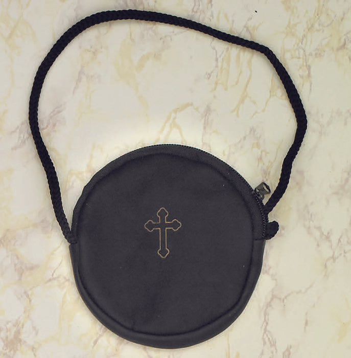 Black Leather Pyx Case w/Cord