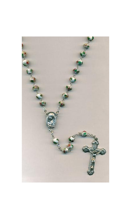 White Genuine Cloisonne Rosary- 8mm beads