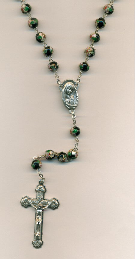 Genuine Cloisonne Rosary - Black