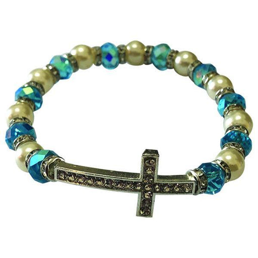 Light Blue and White Stretch Bracelet with Crystal Cross