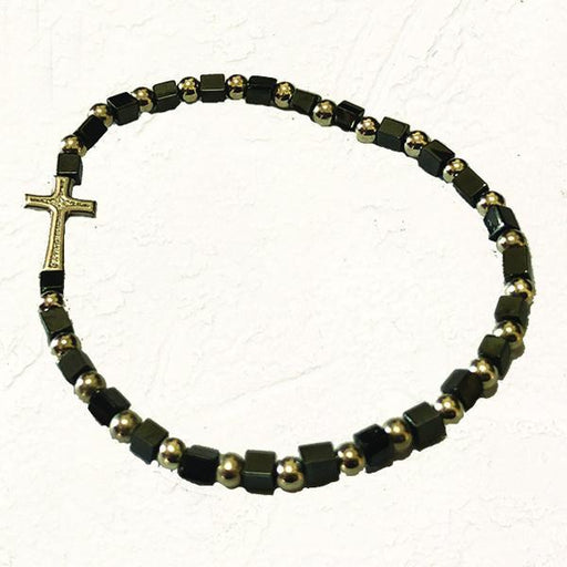 Black and Silver-tone Stretch Bracelet with Cross and Cube Shaped Beads
