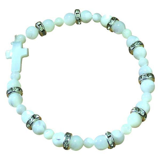 Mother of Pearl Cross Stretch Bracelet with Crystals