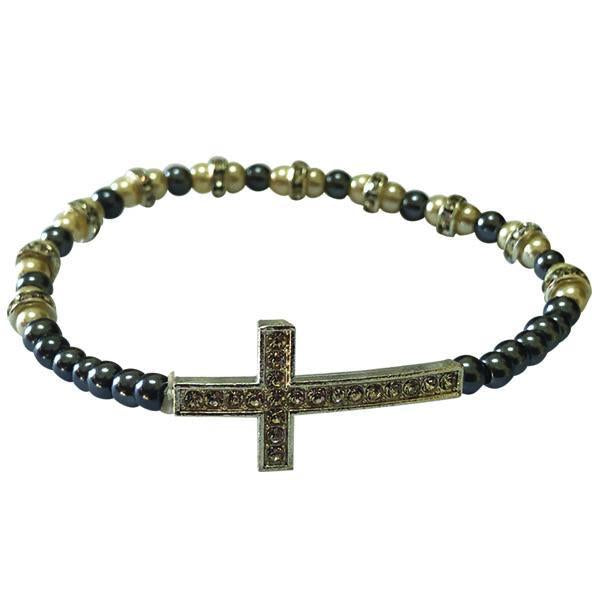 Blue and White Stretch Bracelet with Crystal Cross
