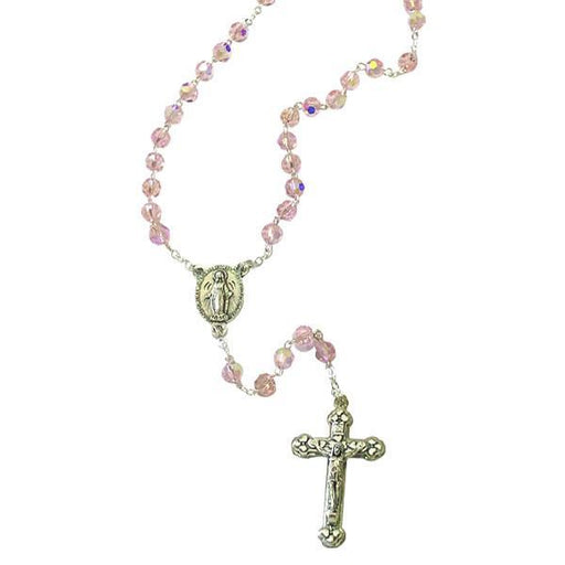 AB Crystal Rosary with Miraculous Medal Center and Silver-tone Crucifix - Rose