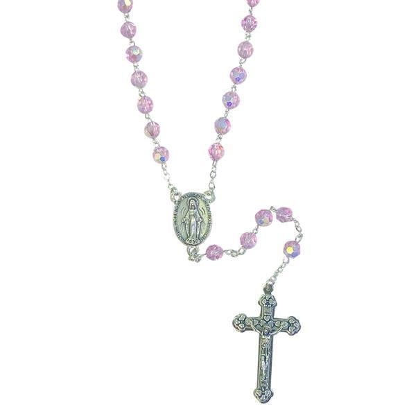AB Crystal Rosary with Miraculous Medal Center and Silver-tone Crucifix - Purple
