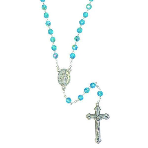 AB Crystal Rosary with Miraculous Medal Center and Silver-tone Crucifix - Aqua