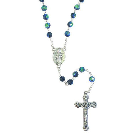 AB Crystal Rosary with Miraculous Medal Center and Silver-tone Crucifix - Black