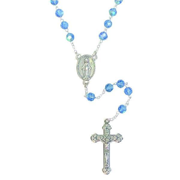 AB Crystal Rosary with Miraculous Medal Center and Silver-tone Crucifix - Blue