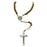 Saint Benedict Brown Wood Rosary, Silver-tone